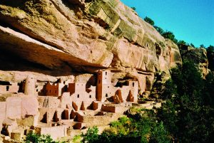 A view from the trail of the Cliff Palace at Mesa Verde