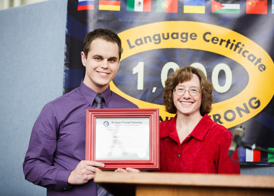 Taylor Drennan is the 1000th recipient of the BYU language certificate.