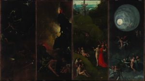 The scene at left is the final panel in Bosch's polyptych Visions of the Hereafter.