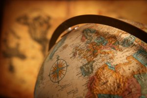 Europe globe close up map antique sepia filtered world