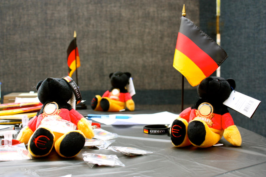 The German Language Fair offered students the chance to by keepsakes like hats, chocolates and stuffed bears.