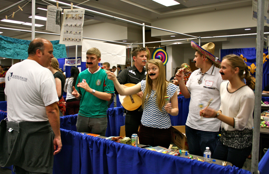 BYU students didn't miss the chance to dress up however they could while working the Spanish Language Fair.
